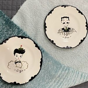 Vintage man and woman plates Angie and Fred
